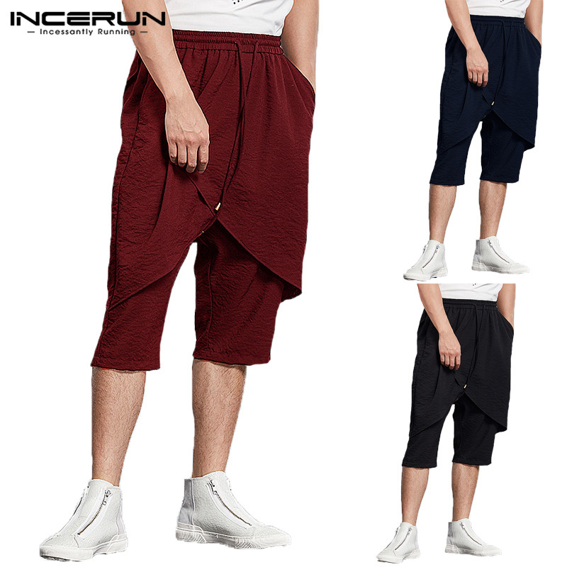 Fashion Hiphop Pants Big Plain Men Pants Skirt Trousers Drawstring Calf Length Pants Joggers Gyms Loose Fitness Pantalon Dance
