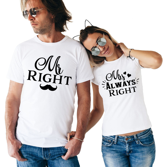 c60937ac Matching Couple T Shirt Mr Right Mrs Always Right Funny Couple Tshirts Mr. &  Mrs. Right Husband and Wife Tshirt Anniversary Gift