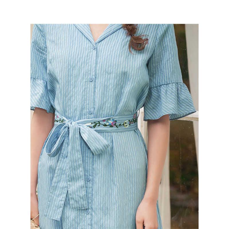 INMAN été élégant col rabattu minimalisme rayé mince avec broderie ceinture cloche manches femmes robe