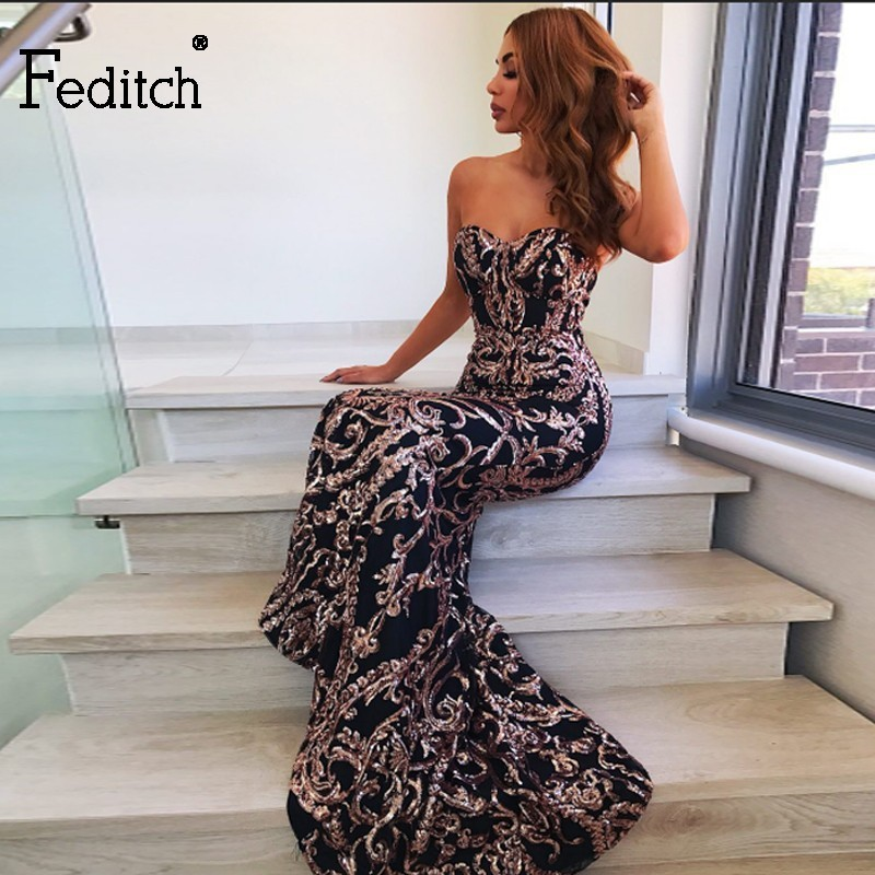 Feditch Sequined Party Dresses Long Strapless Mermaid Ladies Backless Maxi Dress Female Long Sleeveless Night Sheath