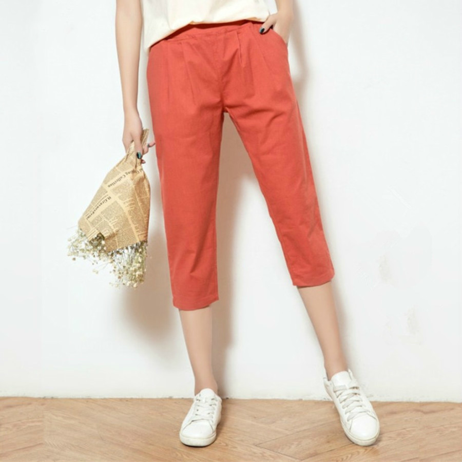 Summer New Women's Casual Solid Color   Pants     Capris   Fashion Cotton Linen Harem   Pants   Elastic Waist Calf-Length   Pants