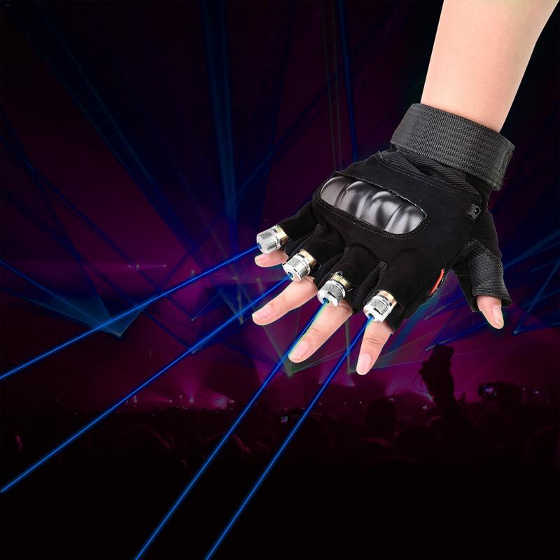 1 pièces Bleu Gants Laser D'étape De Danse D'étape D'exposition Gants Avec 4 pièces Lasers Et LED Paume Lumière Pour DJ Club/Fête/Barres
