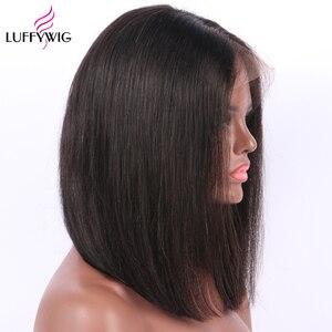Image 2 - LUFFYHAIR короткие парики боб бразильские 100% прямые волосы Remy 5*4,5 шелковая основа полностью кружевные человеческие волосы парики предварительно выщипанные отбеленные узлы