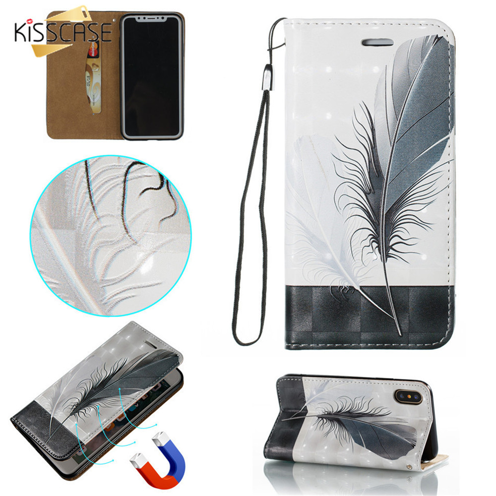 KISSCASE Case For iPhone 8 7 Plus 8 Plus 7 Luxury PU Leather Wallet Case For iPhone XS Max XR XS X 6S 6 Plus 6S 6 5S Capinhas