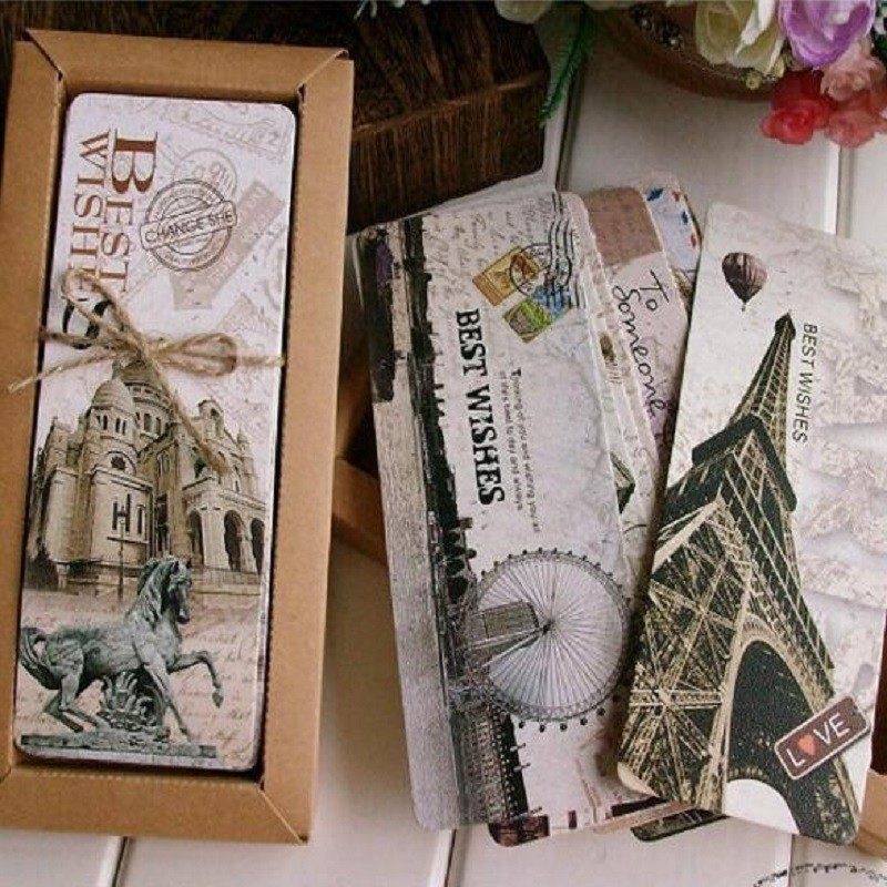 30 PCS/lot Retro Collection Paper Bookmark Creative Vintage Bookmarks Set Books Gift Office School Stationary Supplies 01458