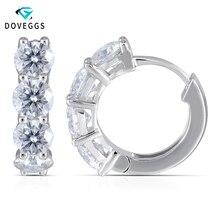 купить DovEggs 14K White Gold 585 4.5mm F 3.2 CTW Color Round Brilliant Moissanite Diamond Hoop Earrings for Women Free Shipping по цене 32999.37 рублей