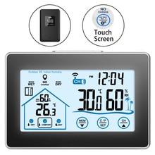 محطة الطقس اللاسلكية شاشة تعمل باللمس ميزان الحرارة الرطوبة في الأماكن المغلقة في الهواء الطلق واي فاي توقعات الطقس الاستشعار على مدار الساعة 20C 60C