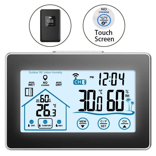 Draadloze Weerstation Touch Screen Thermometer Hygrometer Indoor Outdoor Wifi Weerbericht Sensor Klok 20C 60C