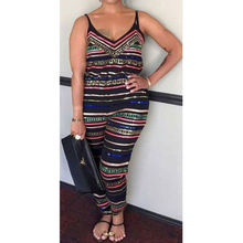 Summer Jumpsuits HOT Women Colorful Stripe Jumpsuit Sleeveless V-Neck High Waist Plus Size
