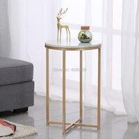 Nordic Золотой металлический прикроватный столик мраморный Настольный боковой стол цветок Современная Гостиная боковой Диванный столы мебел