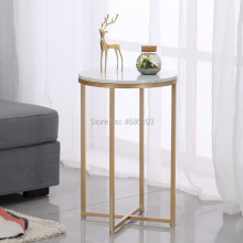Nordic Gold metal bedside table Marble desktop side table flower modern living room sofa side tables furniture coffee table giantex rectangle coffee table metal frame accent cocktail table with storage shelf new living room furniture hw57352