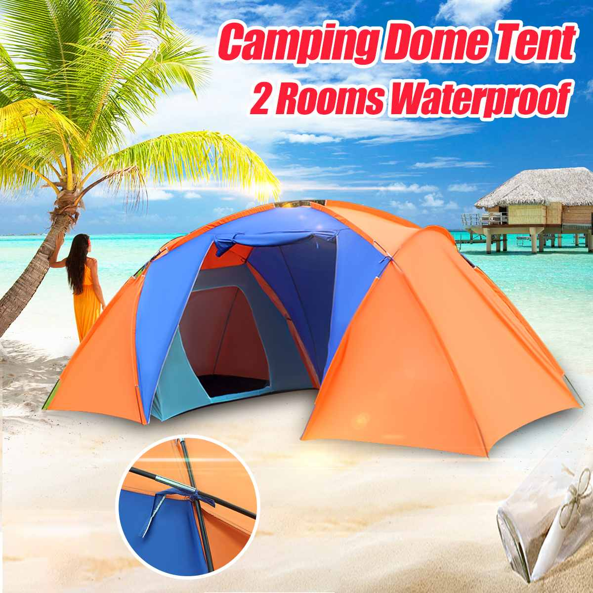 5-8 Person Camping Dome Tent Canvas Family Hiking 2 Rooms 1 Living Waterproof Hiking Fishing Travelling Instant UV Shelter Tent5-8 Person Camping Dome Tent Canvas Family Hiking 2 Rooms 1 Living Waterproof Hiking Fishing Travelling Instant UV Shelter Tent
