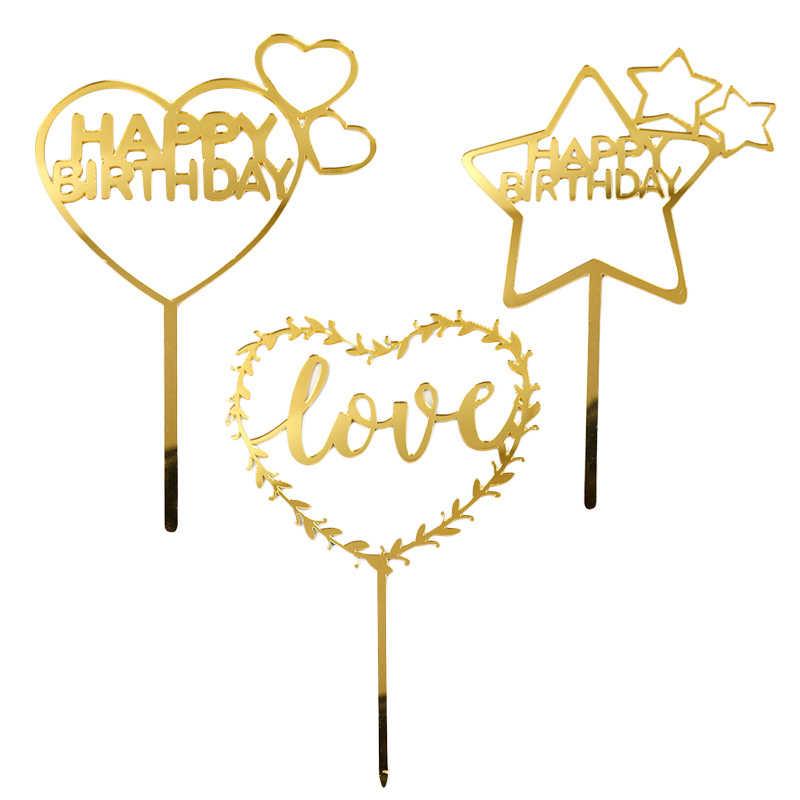 誕生日装飾 1 ピースケーキフラグケーキデコレーション結婚式の装飾アクリル愛カードパーティーケーキトッパー