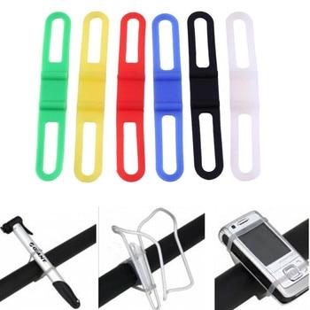 Bandagem Ciclo titular Strap Mount Fix Prendedor de Gravata Faixa de Telefone Da Bicicleta Da Bicicleta Elastic Luz Da Tocha Lanterna Silicone Móvel