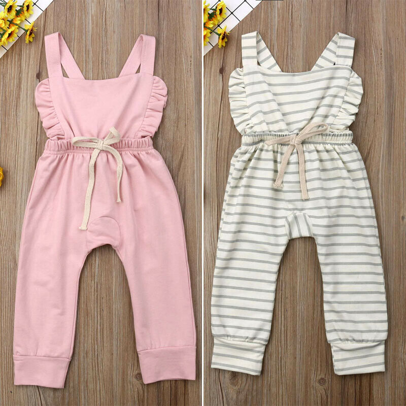 Summer Newborn Baby Boy Girl Striped Cotton   Romper   Jumpsuit Ruffle Backless Halter Cross One-Piece Bib Pants Overall Clothes
