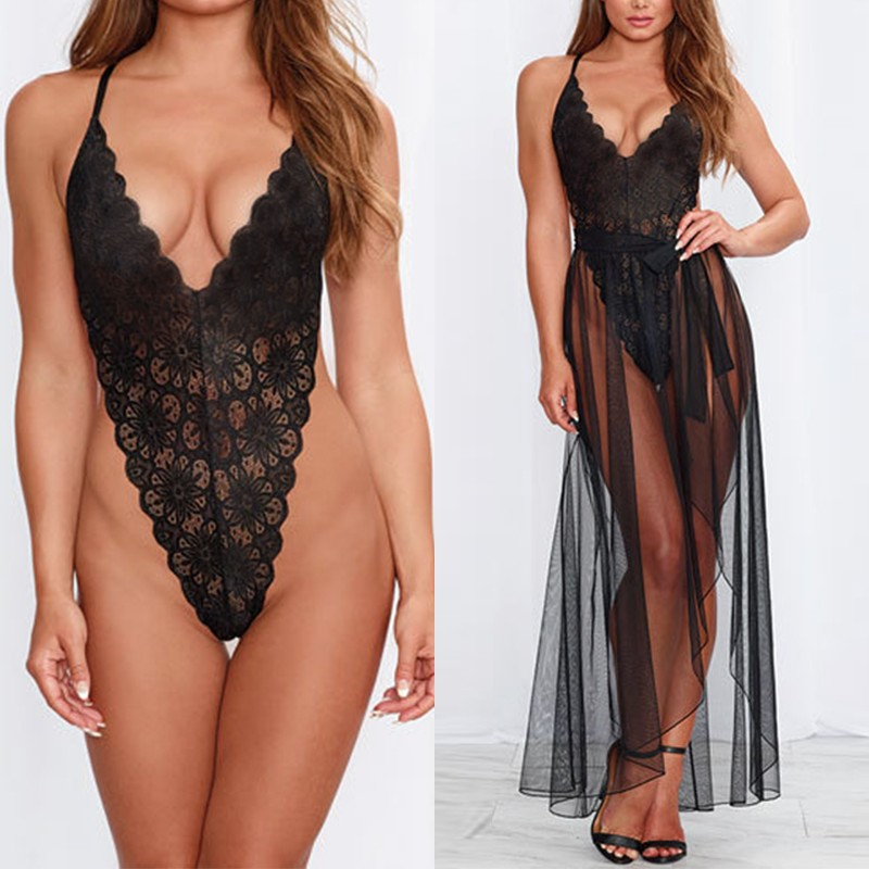 Women Sexy Lingerie Lace Bodysuit Babydoll See Though Bodysuits Nightwear Coustume Sleepwear Sexy Underwear Jumpsuits + Skirt