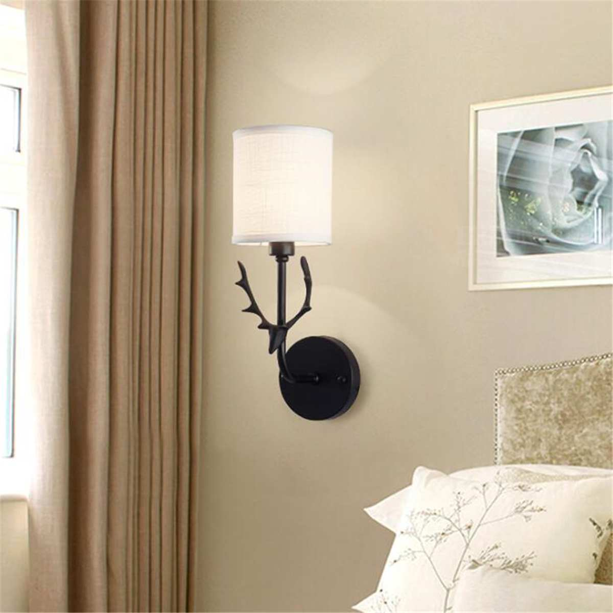 Lights & Lighting Interior Design Deer Wall Light Fabric Lampshade Bedroom Bedside Wall Lamp Sconce Fixtures Nordic Style Indoor Lighting Decor