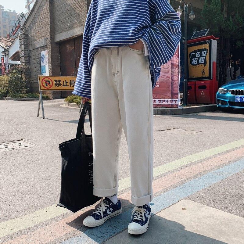 2019 Spring Men's Fashion Trend Baggy Casual Wide Leg Pants Homme Classic Jeans White Color Biker Denim Loose Trousers M-2XL