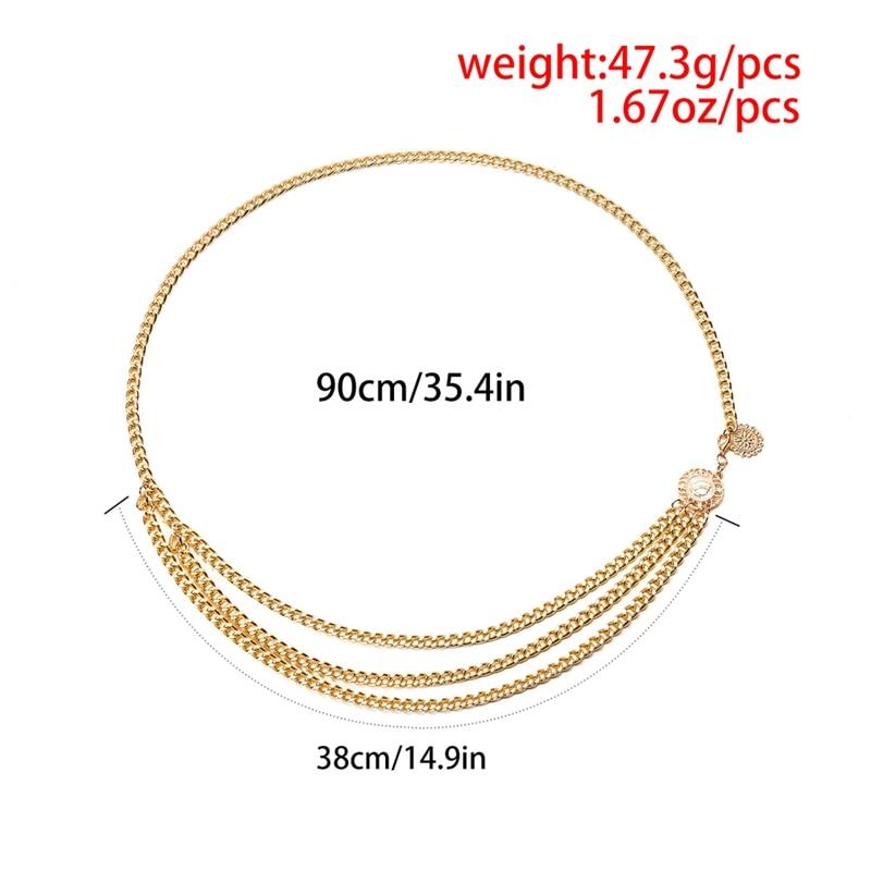 High Waist Narrow Metal Chain Belt 10