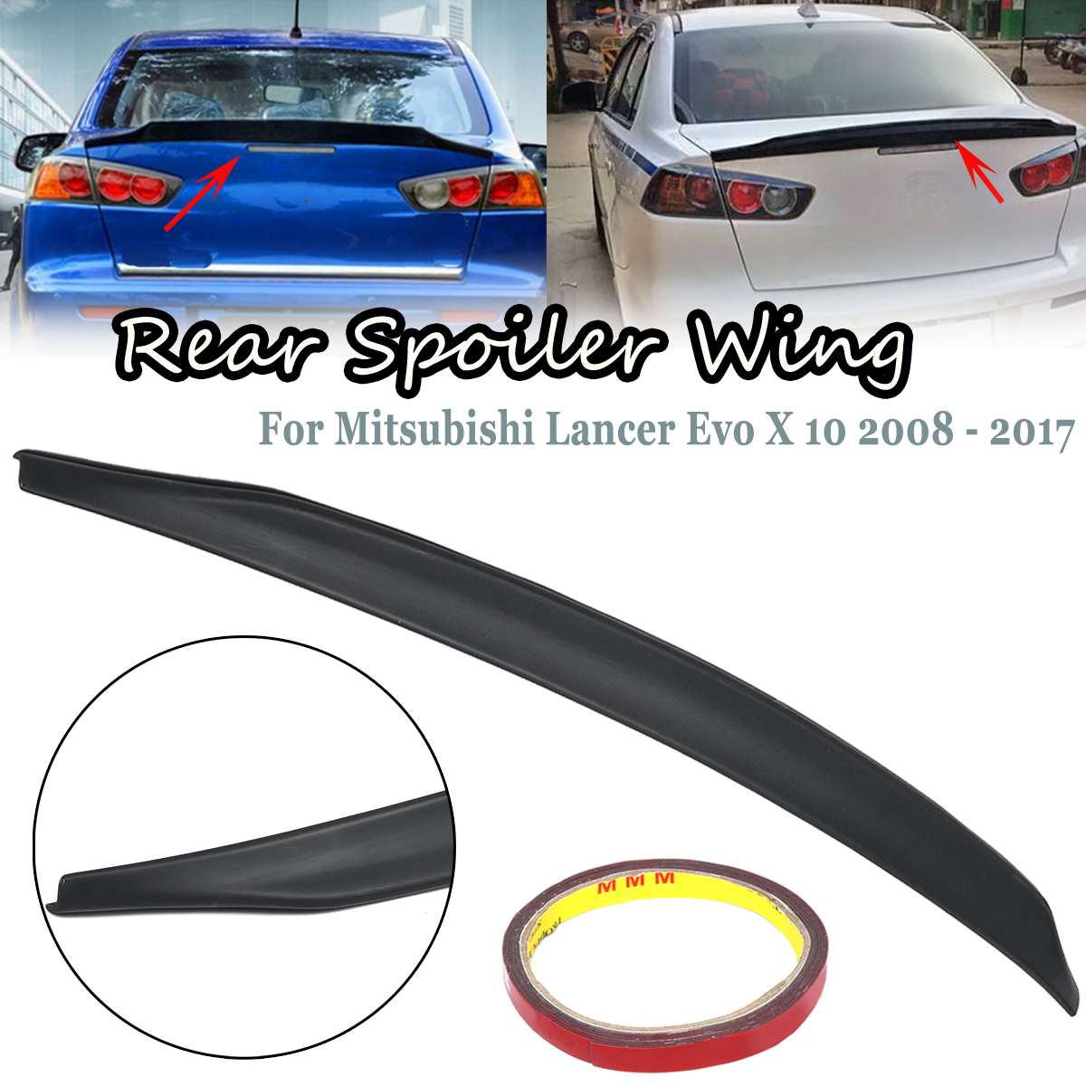 Primer ABS Rear Trunk Spoiler Downforce Wing For 2008-2013 Mitsubishi Lancer