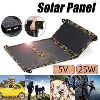 Hot Sale Portable 25W 5V Solar Panel Folding Foldable Waterproof Charger Mobile Power Bank for Phone Battery Dual USB Port