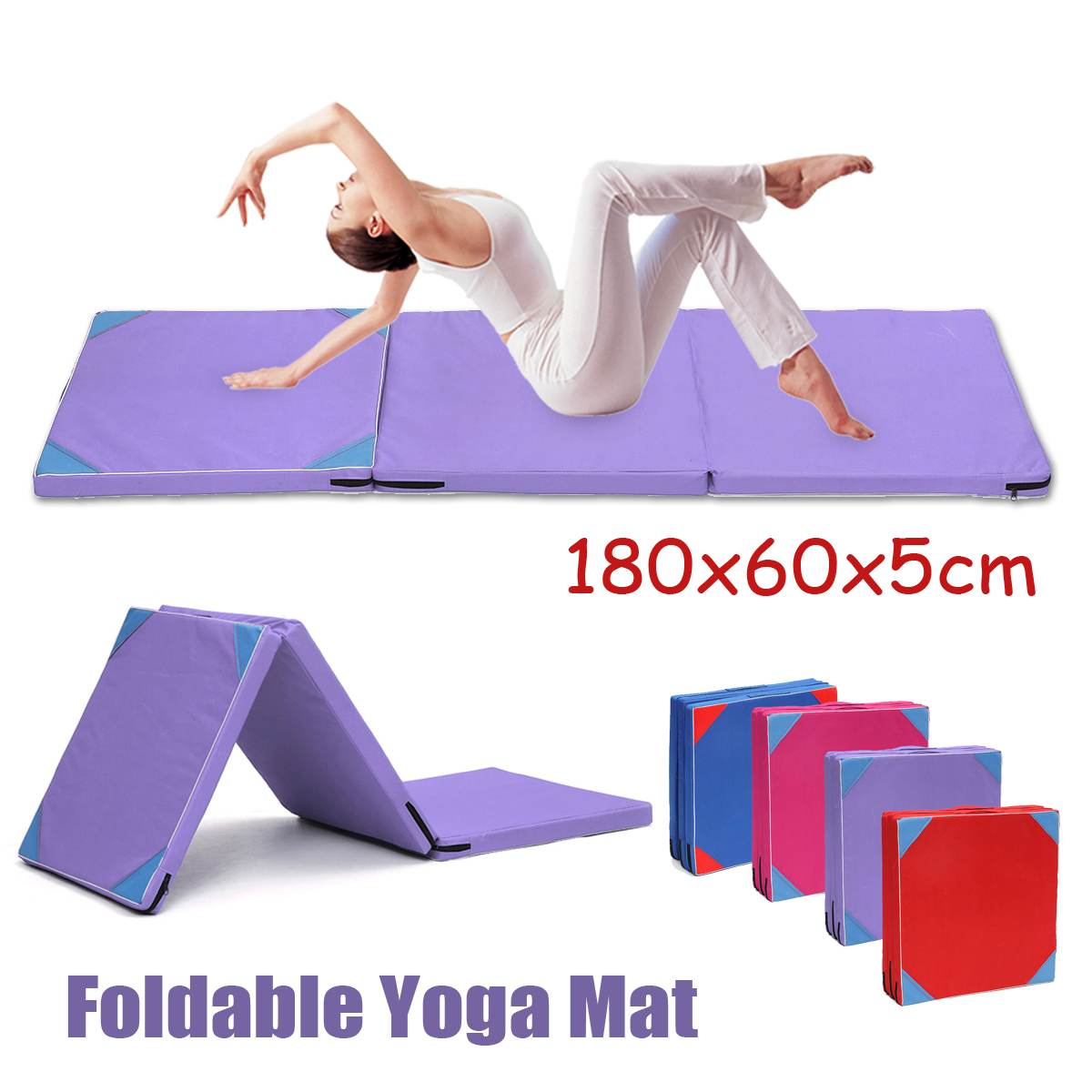 Folding Gymnastics Mat Gym Yoga Mat Non Slip Dance Exercise Fitness Judo Pilates Gym Indoor Outdoor Picnic Mat 180x60x5cm