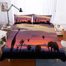 Juego de ropa de cama con funda de edredón estampada en 3D, Textiles para el hogar de jirafa para adultos, ropa de cama realista con funda de almohada # CJL01