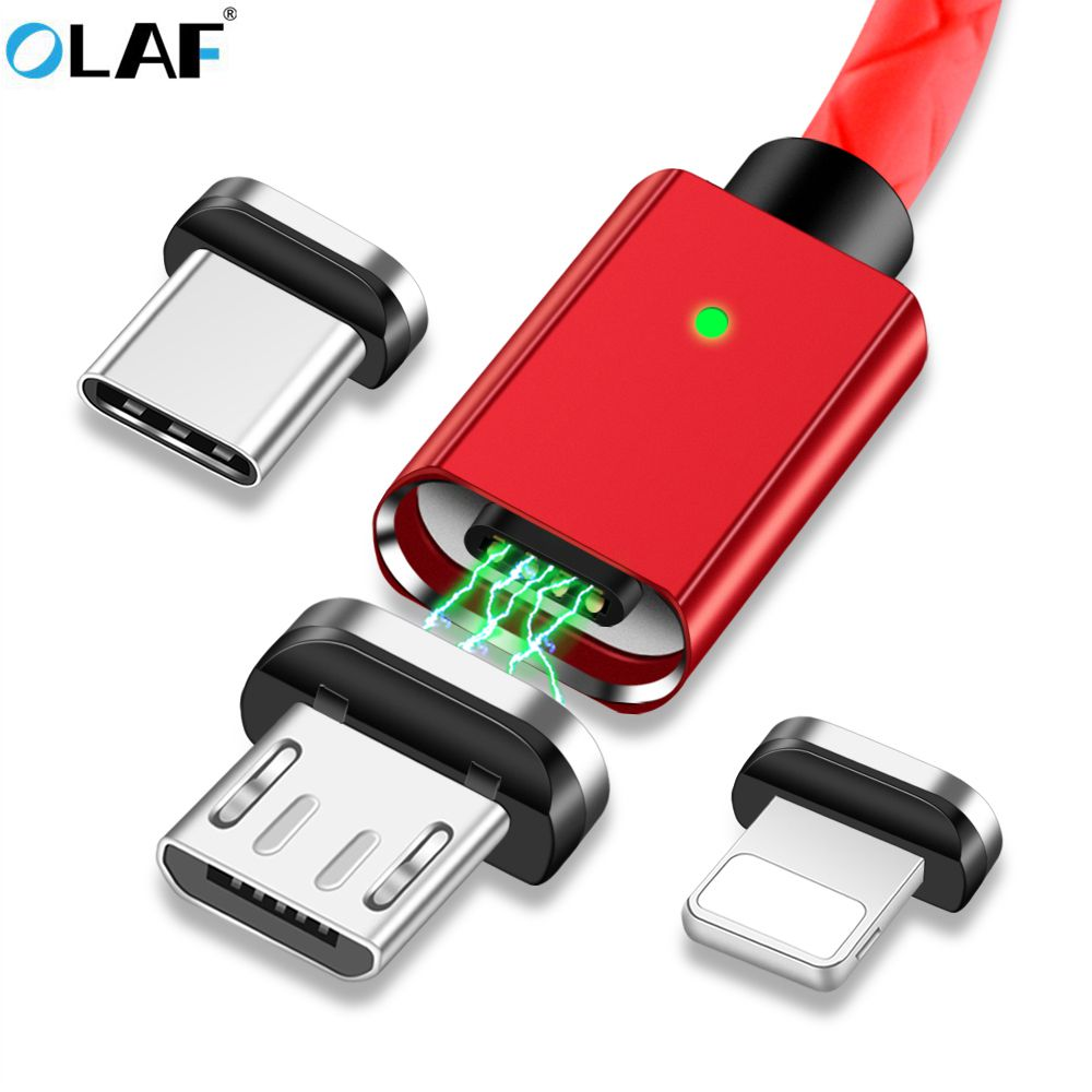 OLAF 3A Magnetic USB Cable For iPhone Type C Magnet Charger Data Charging Microusb Cable For Samsung Android Mobile Phone Cables