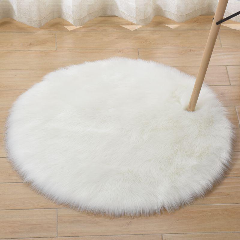 Imitate Wool White Round Carpet