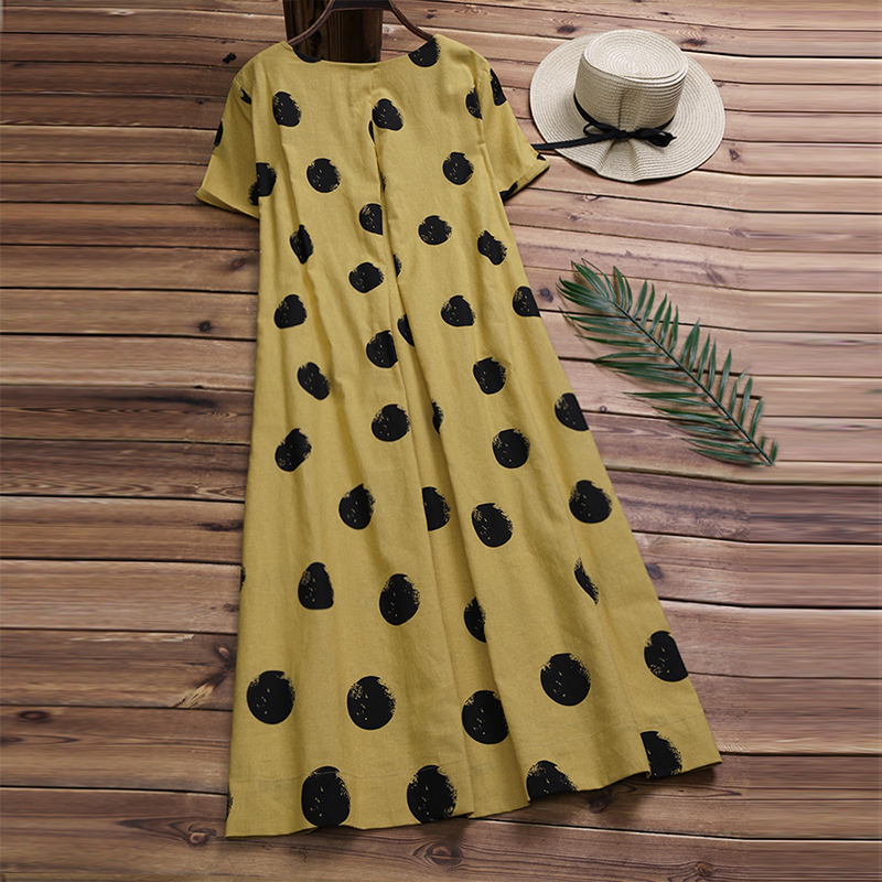 b6aea153eed6e Vintage Women Linen Summer Dress 2019 Plus Size Female Pleated Beach ...