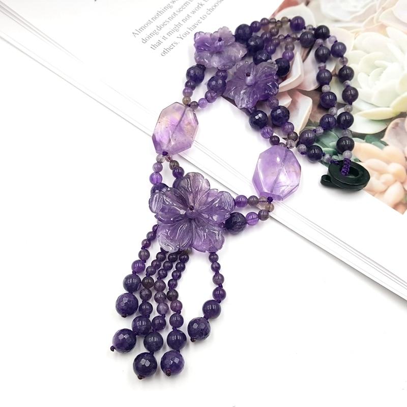 Lii Ji kamień naturalny Ametrine ametystowe kwiaty z Jade przełącz zapięcie naszyjnik dla kobiet moda biżuteria w Naszyjniki od Biżuteria i akcesoria na  Grupa 2