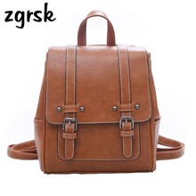 Vintage Women Backpack High Quality Pu Leather School Bags For Girls Lady Simple Style Backpack Fashion Leisure Pu Shoulder Bag стоимость