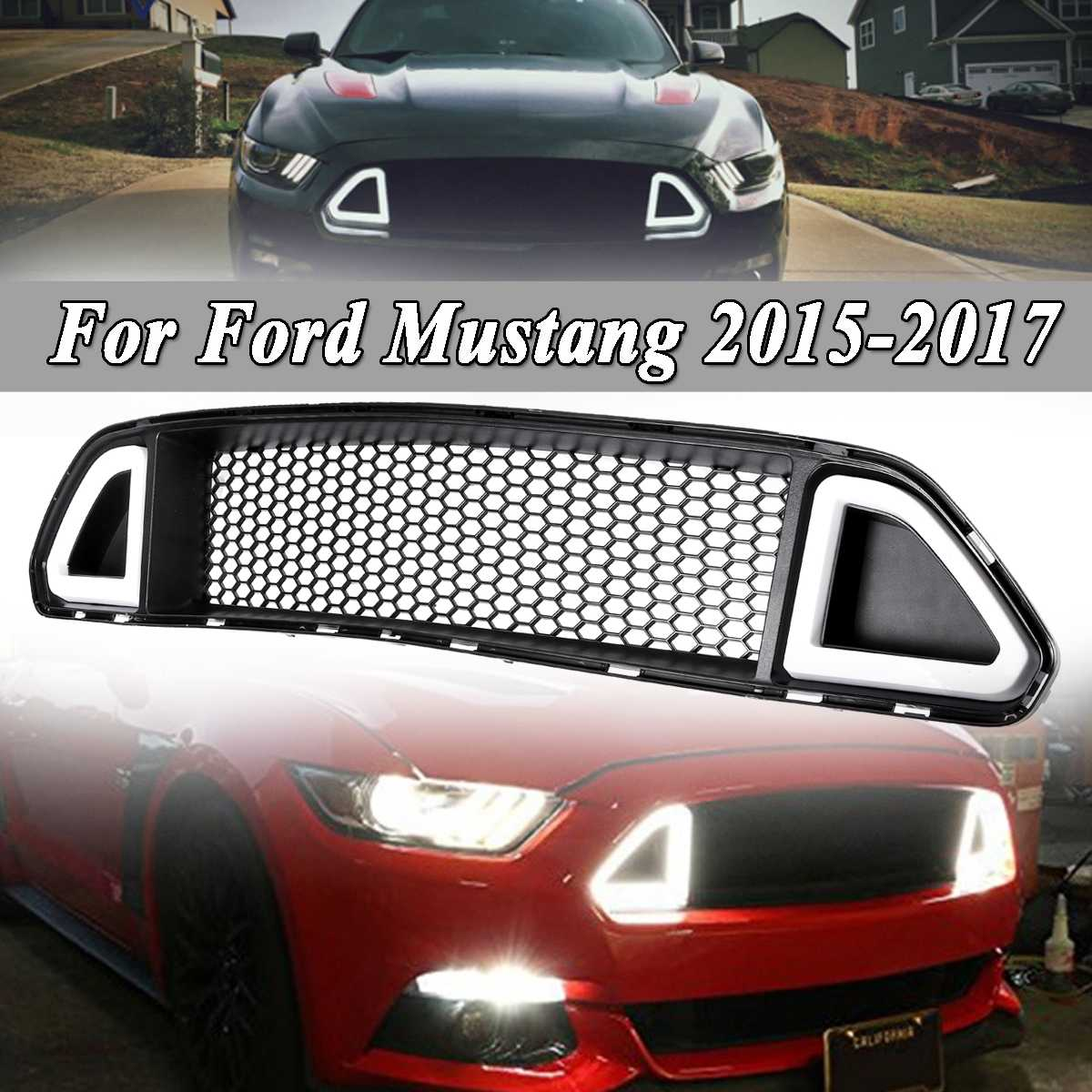 New Car Racing Grille Grill For Ford For Mustang 2015 2016 2017 Black Radiator Mesh Front Hood Bumper Modify DRL LED LightNew Car Racing Grille Grill For Ford For Mustang 2015 2016 2017 Black Radiator Mesh Front Hood Bumper Modify DRL LED Light