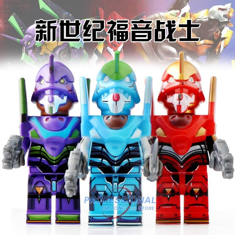 20 Pcs/Lot légosement néon Genesis évangélisation Action Figure Anime EVA bande dessinée Machine armure blocs de construction jouets enfants PG8237