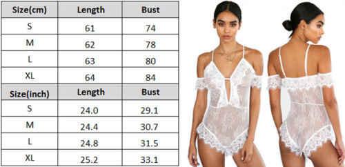 Sexy kobiety kwiatowy koronki V Neck Bodycon body bielizna sweter biały wzburzyć przepuszczalność body krótkie śpiochy trykot S-XL