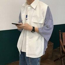 2019 Spring Summer Men Casual Loose Stripe Solid Color Spliced Lapel Short Sleeve Shirt Black/white Camisa Masculina Homme M-XL цена