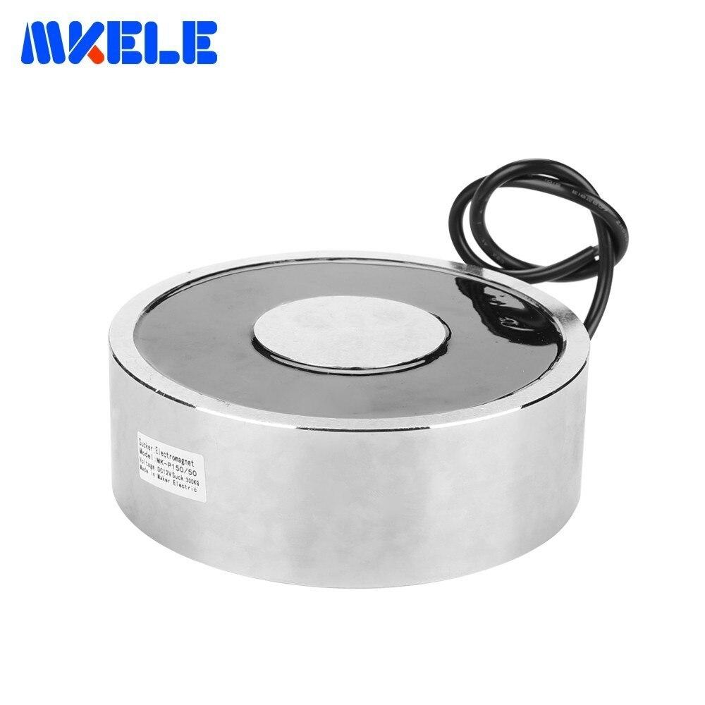 Électro-aimant de maintien rond ultra-mince Mkele-p150/50 levage 300 kg/3000n électroaimant de ventouse de solénoïde de bobine de cuivre pur
