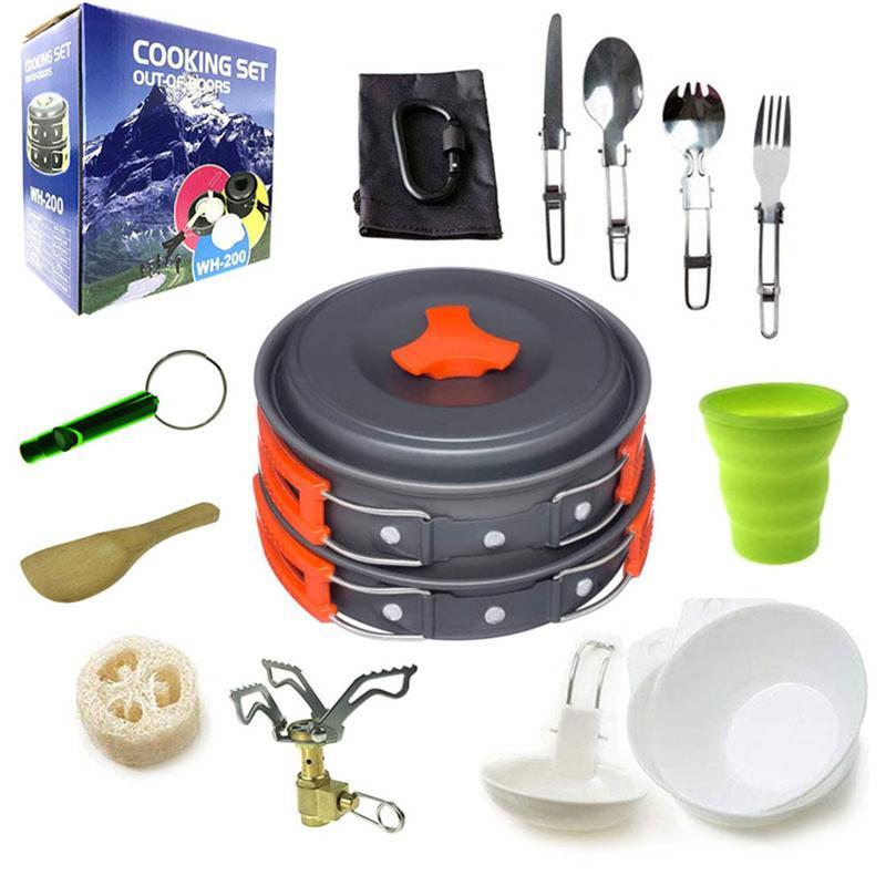 En gros Camping batterie de cuisine ensemble extérieur antiadhésif casserole Pot 16 pièce cuisson ensemble pique-nique randonnée Camping avec sac et boîte de détail