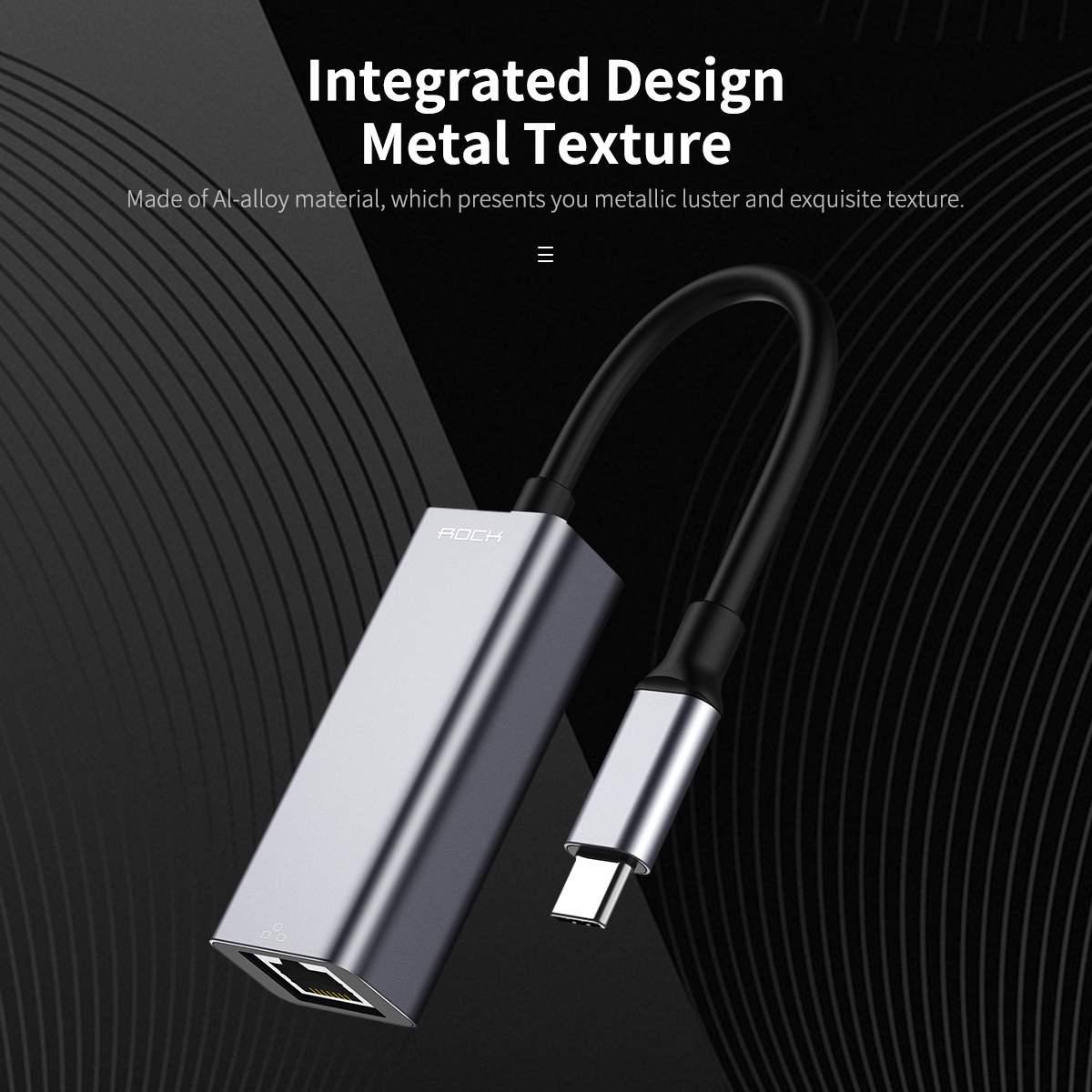 Rock Ethernet-Network-Adapter Dock Hub-Converter USB-C RJ45 To Matal-Texture Integrated-Design