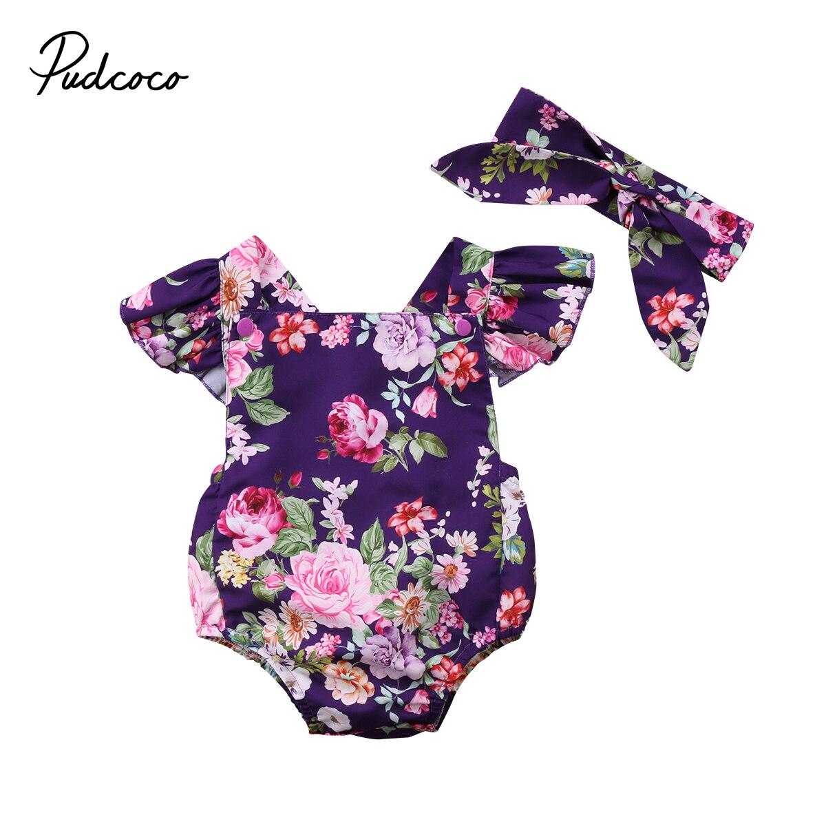 Летняя мода новорожденных цветочным рисунком для маленьких девочек детский комбинезон повязка на голову, Одежда 0-24 M