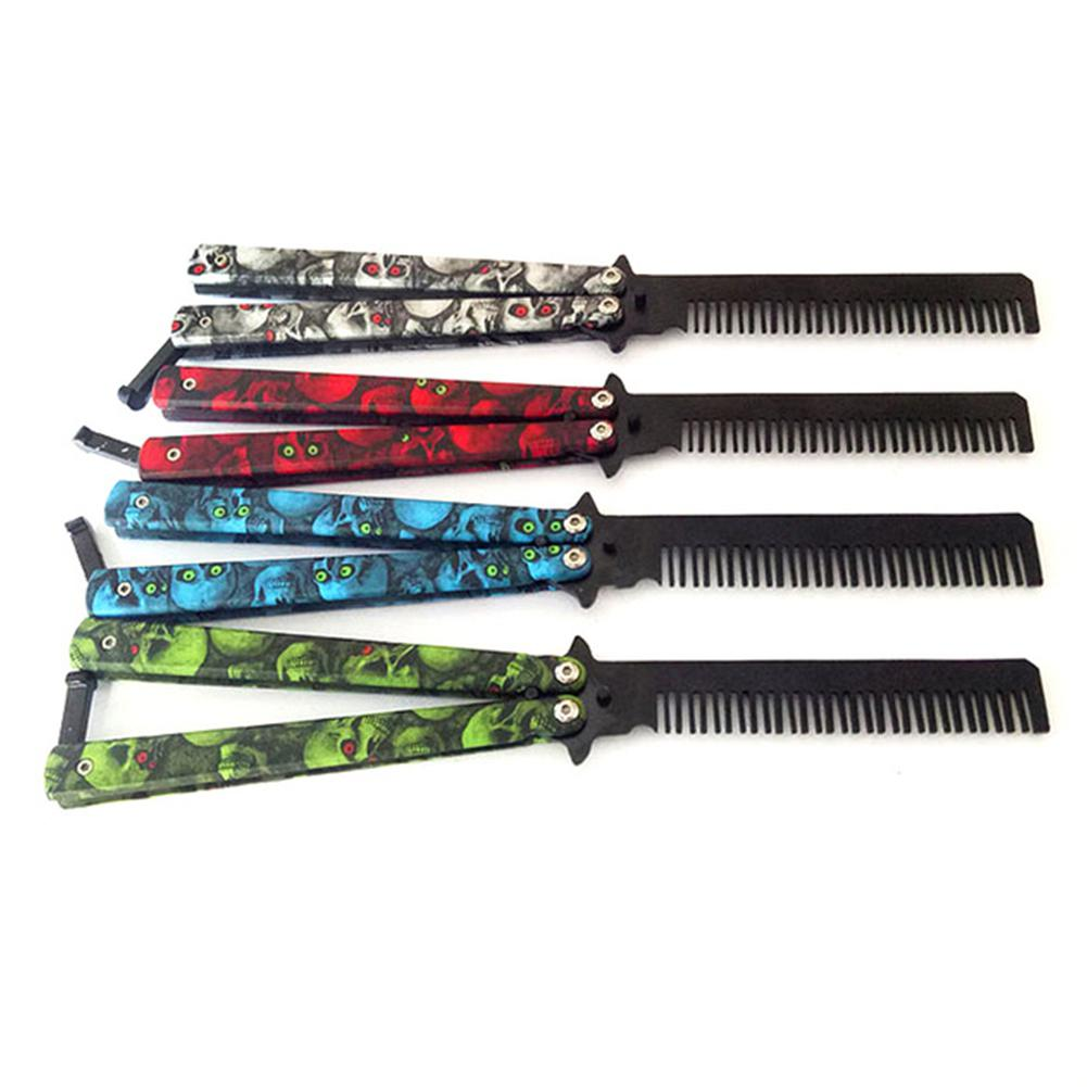 BellyLady Hairdresser Foldable Stainless Steel Hand Made Hair Pomade Styling Butterfly Vintage Skeleton Training Knife Combs