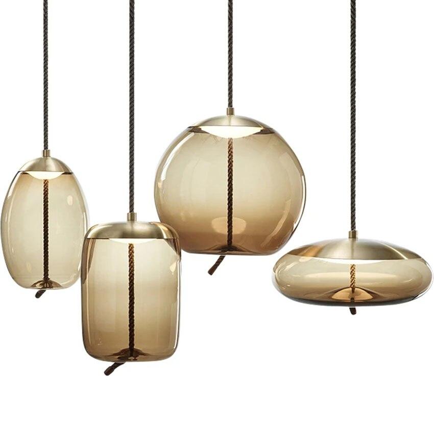 Nordic Cognac Color Glass Pendant Lamp Living Room Restaurant Bedroom Kitchen Fixtures Decorate Hanging Lamp Luminaire Lighting