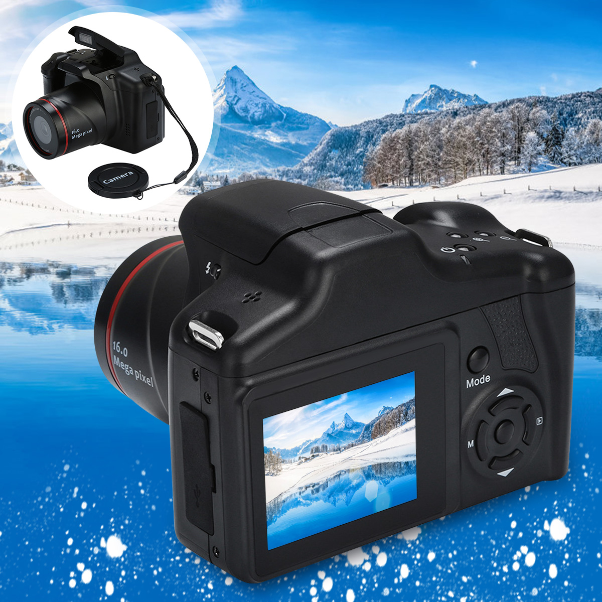 16X Zoom 16MP 1080P 2.4 Inch TFT Screen Anti-shake Digital SLR Camera with Builte CMOS Sensor Cameras Built-in Microphones