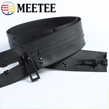 Meetee 2pcs 70/80/110/150cm Waterproof Zipper 5# Black Nylon Invisible Zipper for Down Outdoor Jackets Sewing Accessories