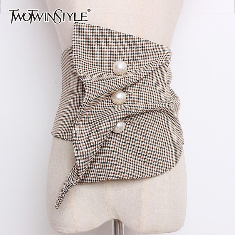 TWOTWINSTYLE High Waist Irregular For Women Plaid Ruched Pearls Belt Cummerbunds Vintage Accessories 2020 Spring Fashion Tide