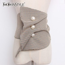 TWOTWINSTYLE High Waist Irregular For Women Plaid Ruched Pearls Belt Cu