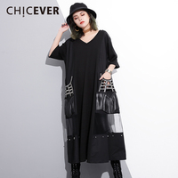 CHICEVER Black Summer Dress For Women Patchwork Perspective Mesh Tassel Pocket Loose Women's Dresses Of The Big Size Clothes New
