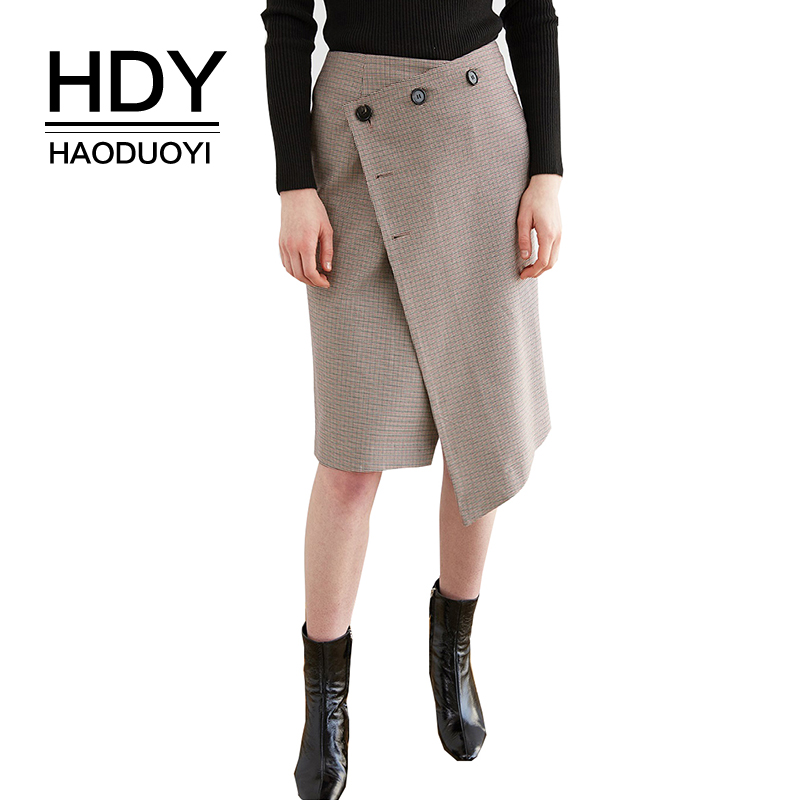 HDY haoduoyi Spring And Summer Skirts Harajuku Thickened Woolen Plaid Retro Knee skirt