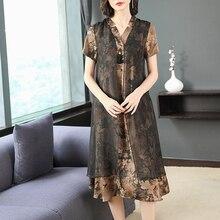 2019 Women Summer V-neck Short Sleeve Dress Vintage Floral Print  Dress Tunic Sundress Loose Party Dress Vestidos Plus Size 4XL
