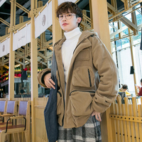 2018 New Autumn and winter Korean Edition causal Thickening Loose hoodies Work Clothes Pocket Shake Cashmere Men's wear coat